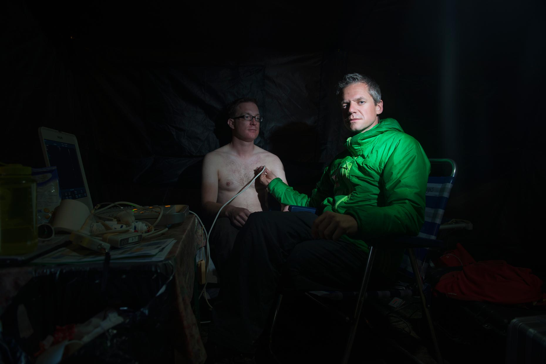 Portrait  of expedition doctors on Himlung Himal | The Himalayan Experiment for GEO magazine | Nepal | Stefen Chow