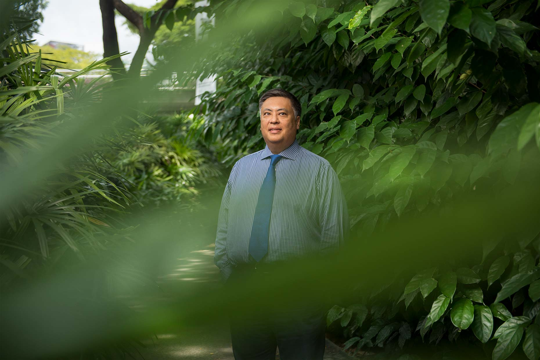 Ken Siazon, Longleaf Partners Singapore by photographer Stefen Chow | Portrait Photography | Outdoors | Greenery | Singapore | Asia